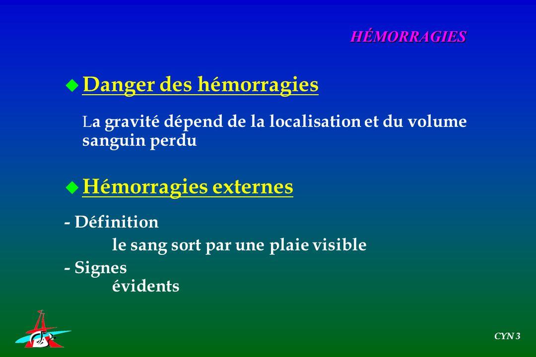 Danger des hémorragies