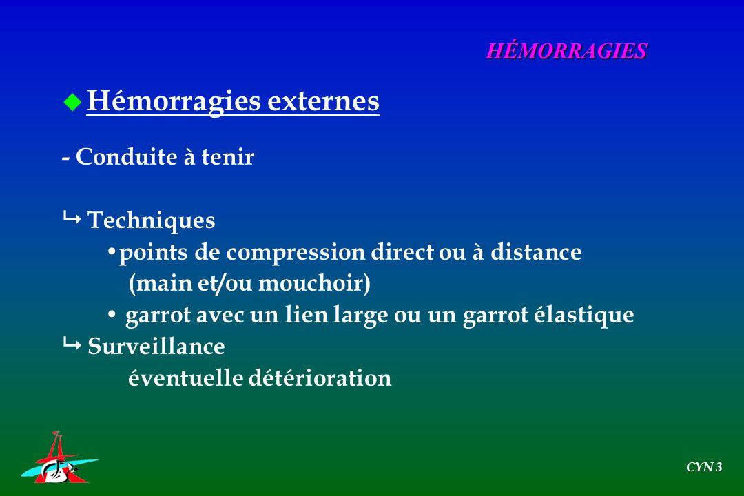 Hémorragies externes - Conduite à tenir  Techniques