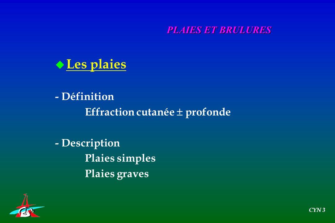 Les plaies - Définition Effraction cutanée  profonde - Description