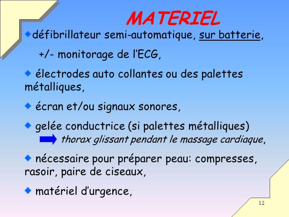 MATERIEL défibrillateur semi-automatique, sur batterie,
