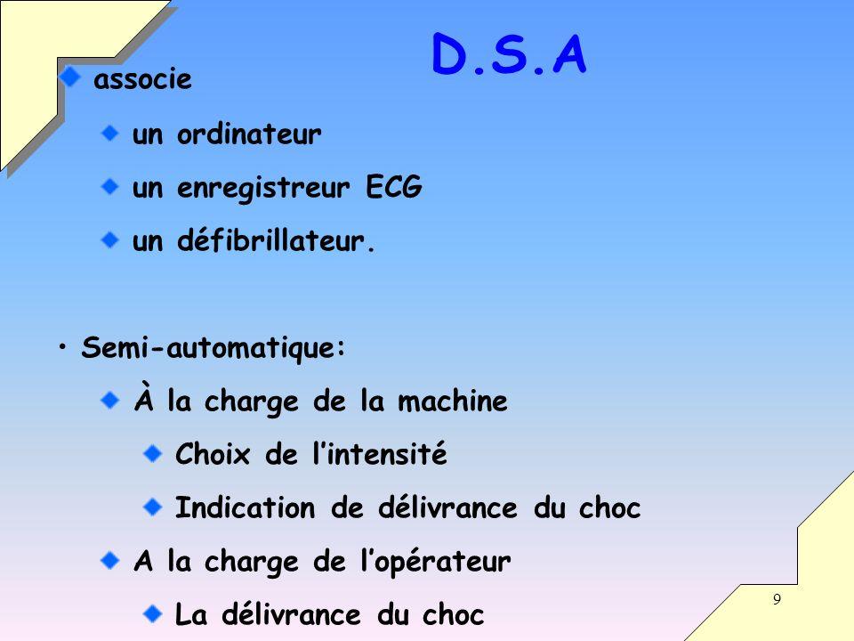 D.S.A associe un ordinateur un enregistreur ECG un défibrillateur.