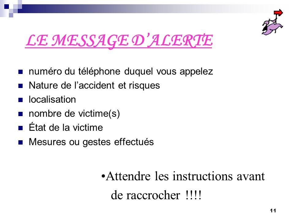 LE MESSAGE D'ALERTE Attendre les instructions avant de raccrocher !!!!