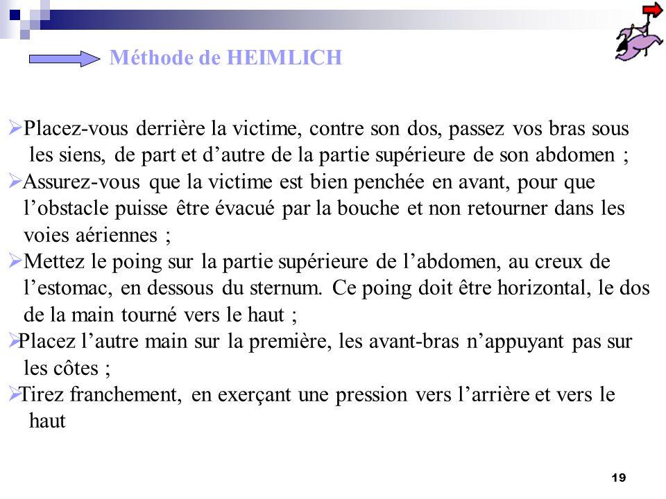 Méthode de HEIMLICH Placez-vous derrière la victime, contre son dos, passez vos bras sous.