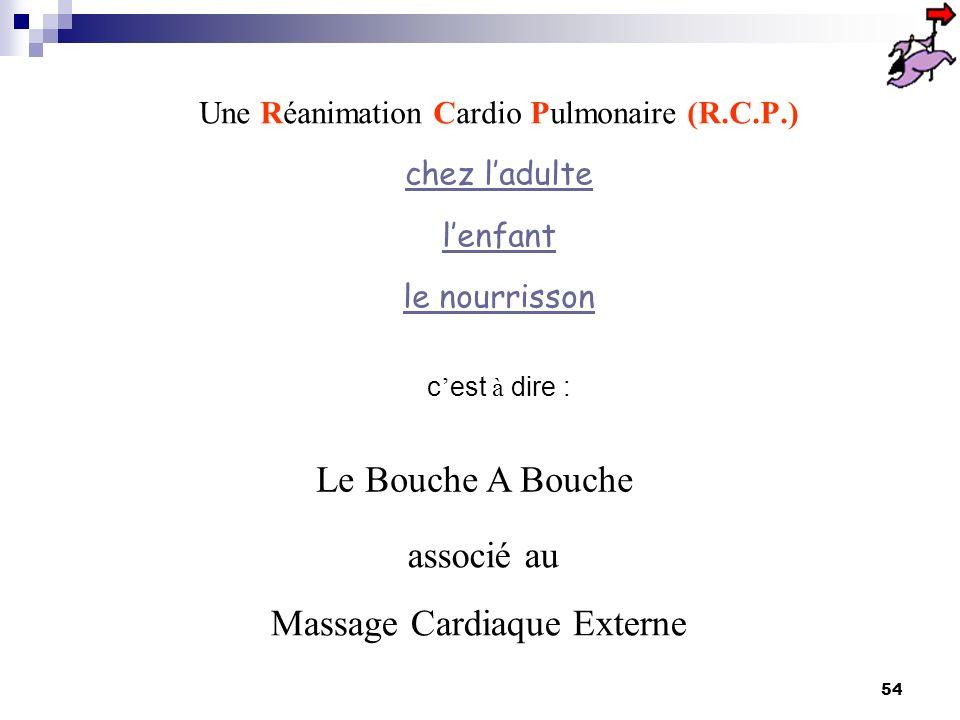Une Réanimation Cardio Pulmonaire (R.C.P.)