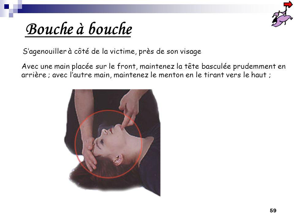Bouche à bouche S'agenouiller à côté de la victime, près de son visage