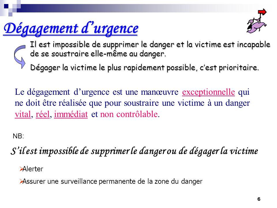 Dégagement d'urgence Il est impossible de supprimer le danger et la victime est incapable de se soustraire elle-même au danger.