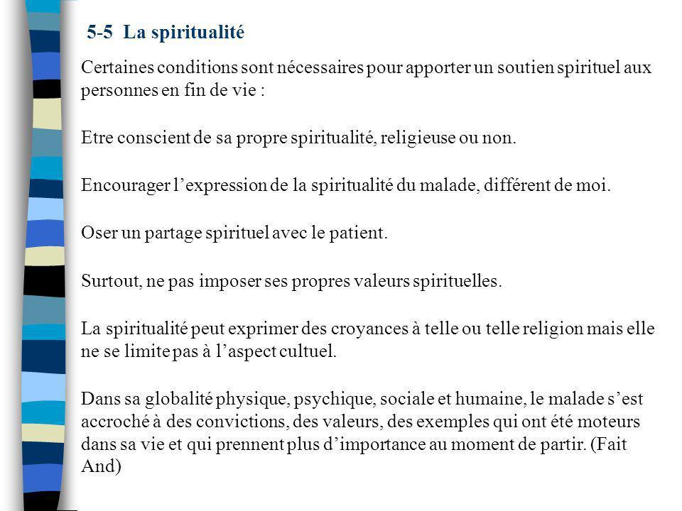 5-5 La spiritualité Certaines conditions sont nécessaires pour apporter un soutien spirituel aux personnes en fin de vie :