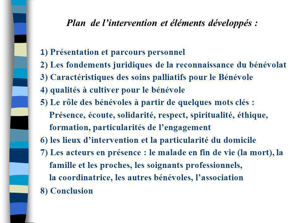 Plan de l'intervention et éléments développés :