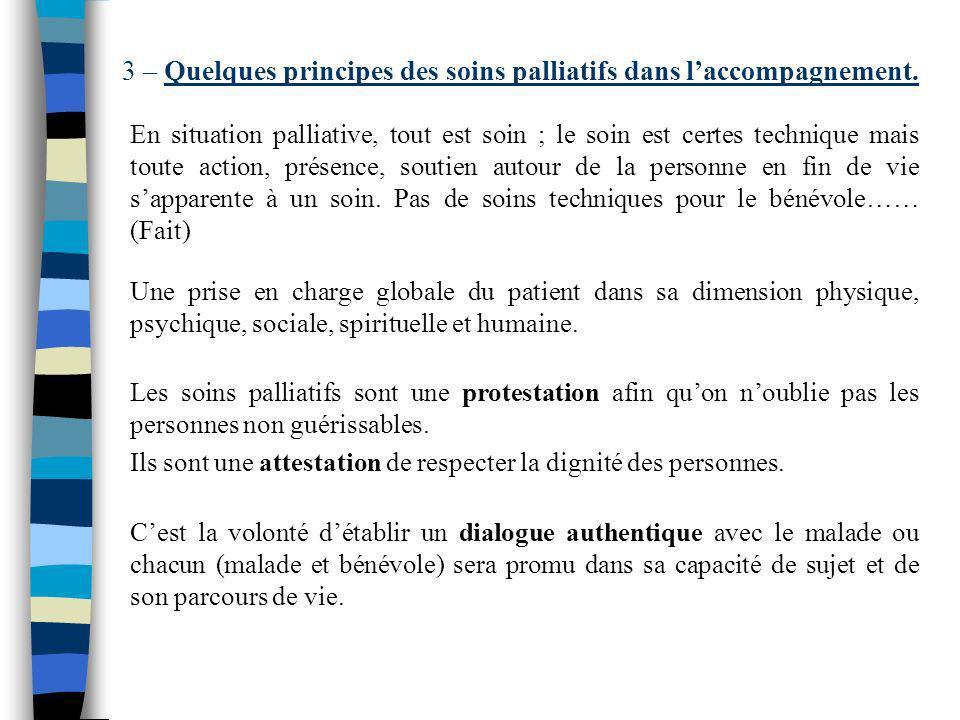 3 – Quelques principes des soins palliatifs dans l'accompagnement.