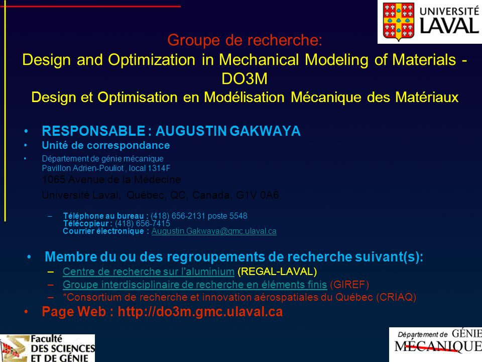 Groupe de recherche: Design and Optimization in Mechanical Modeling of Materials - DO3M Design et Optimisation en Modélisation Mécanique des Matériaux