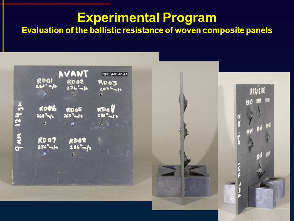 Experimental Program Evaluation of the ballistic resistance of woven composite panels