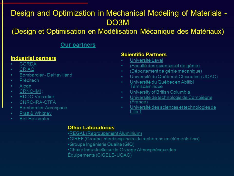 Design and Optimization in Mechanical Modeling of Materials - DO3M (Design et Optimisation en Modélisation Mécanique des Matériaux)