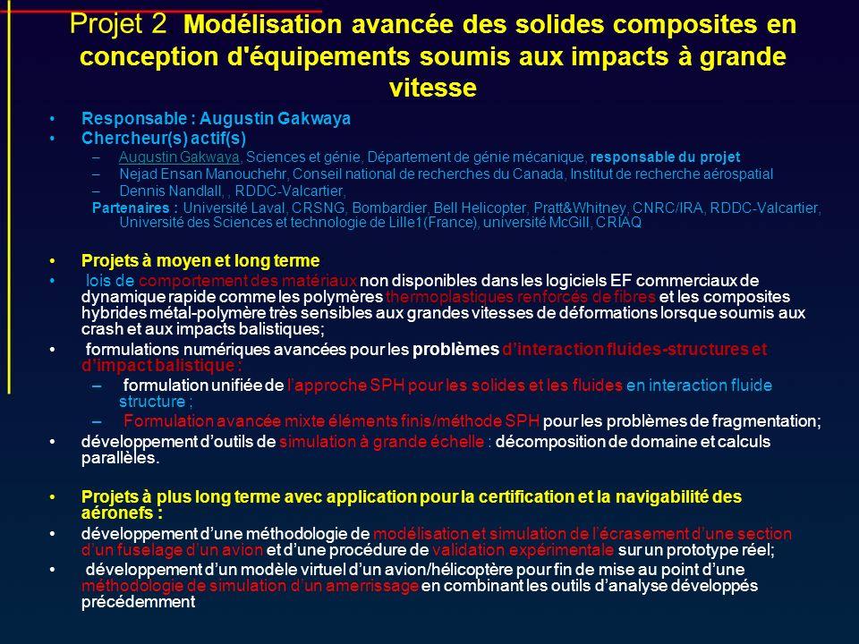 Projet 2: Modélisation avancée des solides composites en conception d équipements soumis aux impacts à grande vitesse