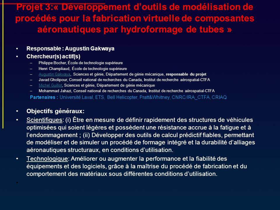 Projet 3:« Développement d'outils de modélisation de procédés pour la fabrication virtuelle de composantes aéronautiques par hydroformage de tubes »