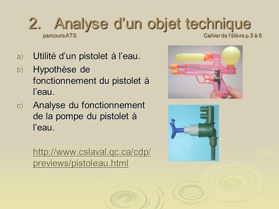 Analyse d'un objet technique parcours ATS Cahier de l'élève p.3 à 6