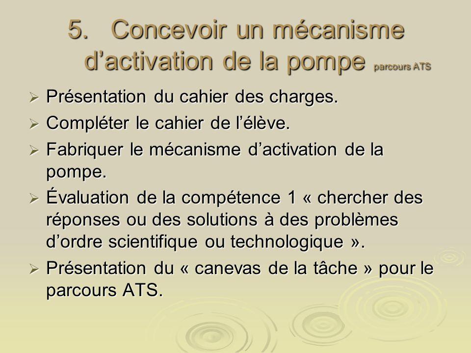 Concevoir un mécanisme d'activation de la pompe parcours ATS
