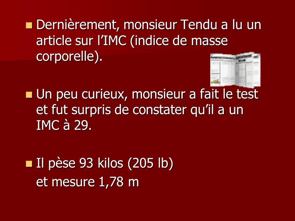 Dernièrement, monsieur Tendu a lu un article sur l'IMC (indice de masse corporelle).