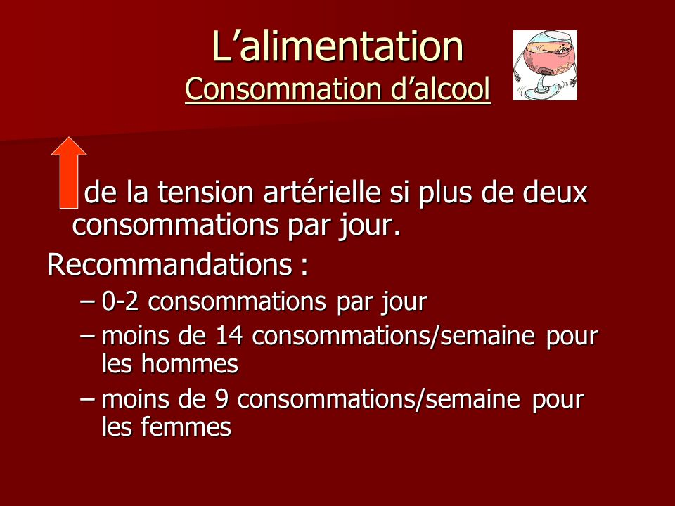 L'alimentation Consommation d'alcool