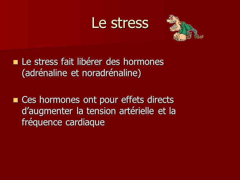 Le stress Le stress fait libérer des hormones (adrénaline et noradrénaline)