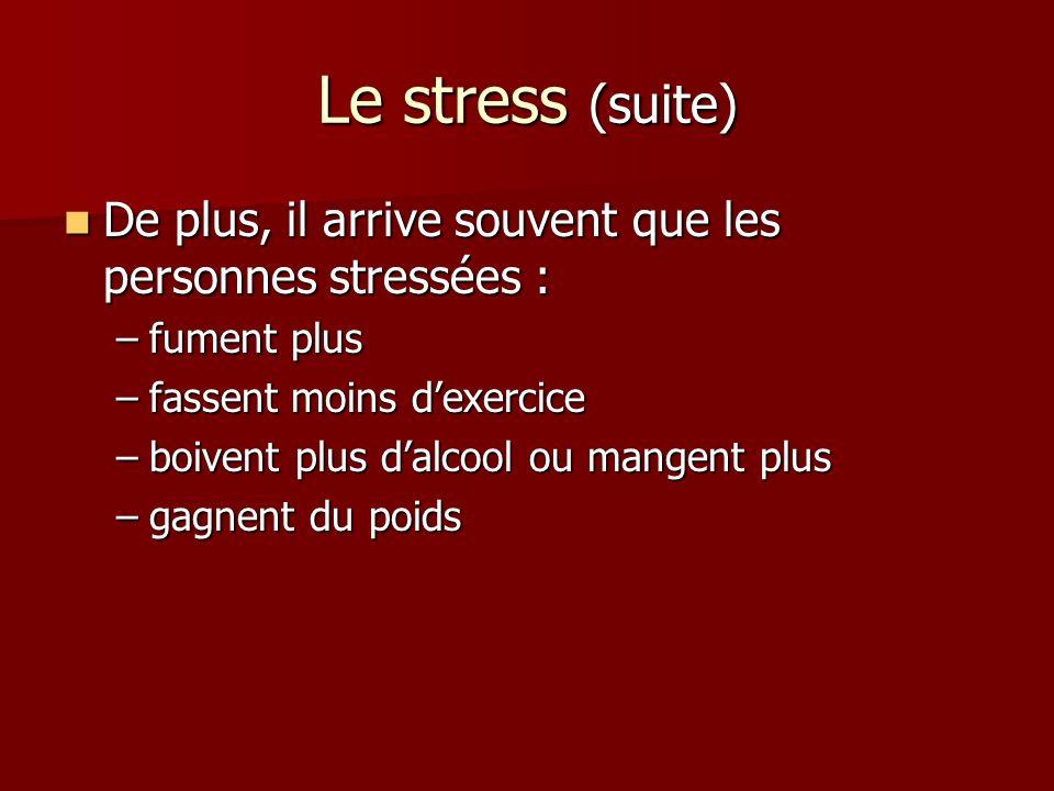 Le stress (suite) De plus, il arrive souvent que les personnes stressées : fument plus. fassent moins d'exercice.