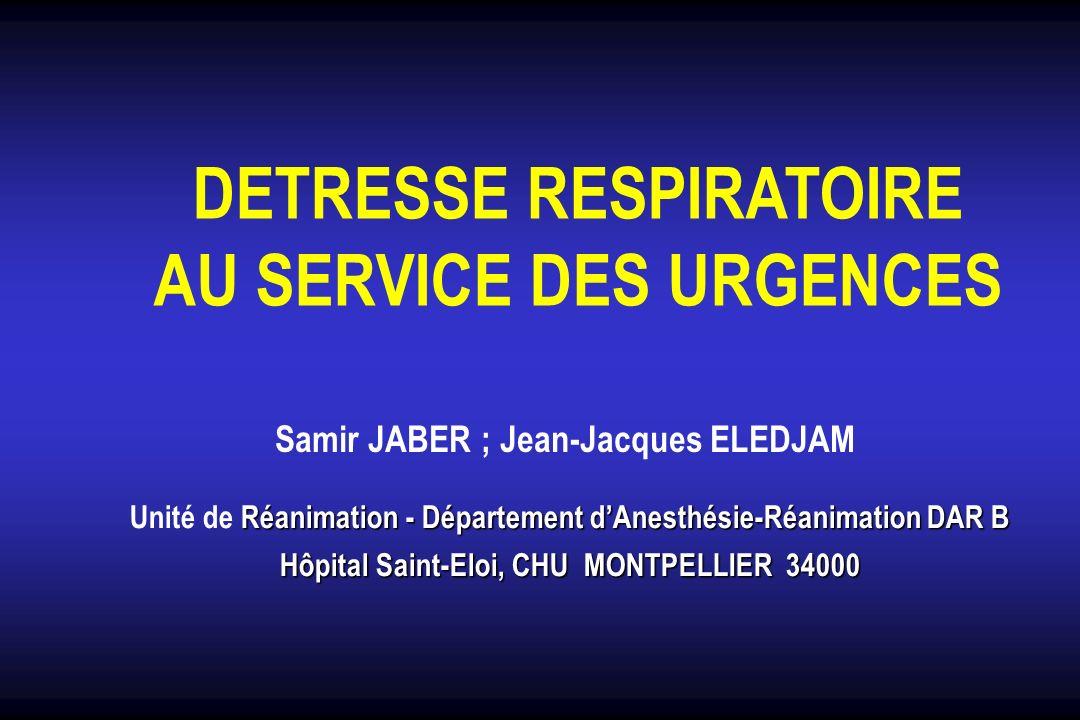 DETRESSE RESPIRATOIRE AU SERVICE DES URGENCES