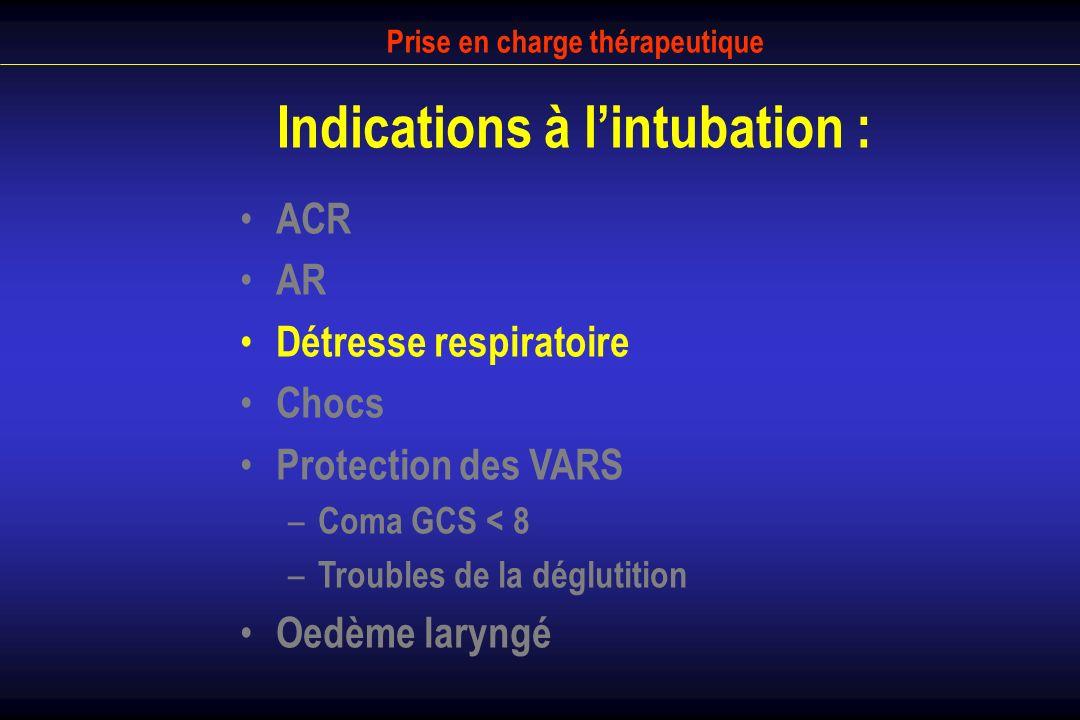 Prise en charge thérapeutique Indications à l'intubation :