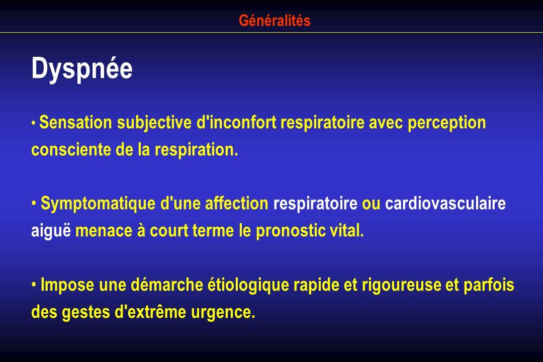 Généralités Dyspnée. Sensation subjective d inconfort respiratoire avec perception consciente de la respiration.