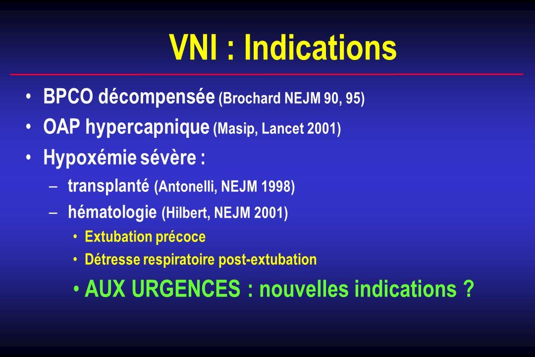 VNI : Indications AUX URGENCES : nouvelles indications
