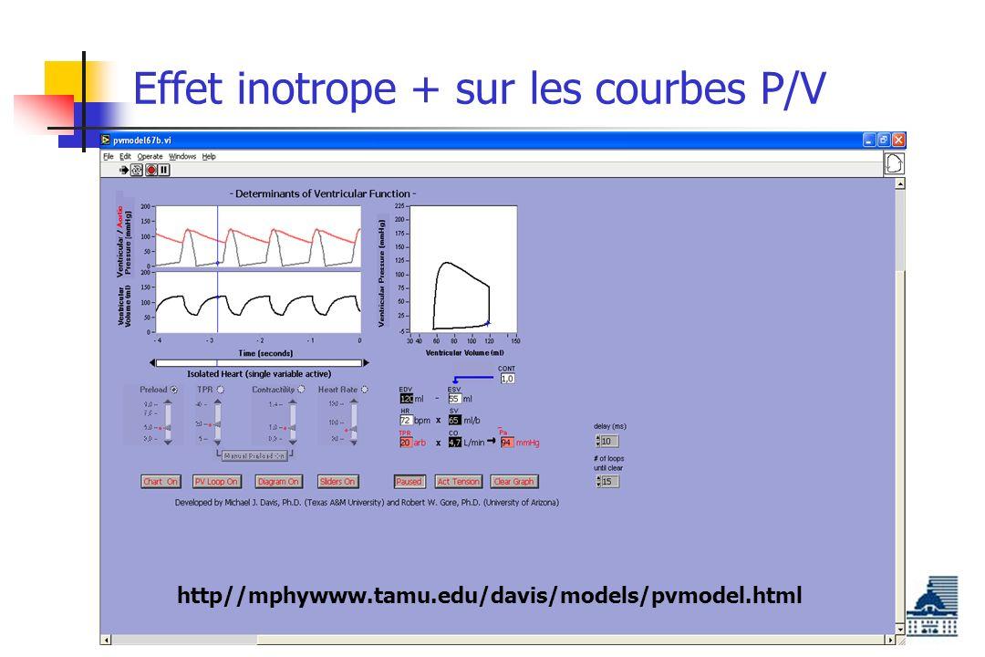 Effet inotrope + sur les courbes P/V