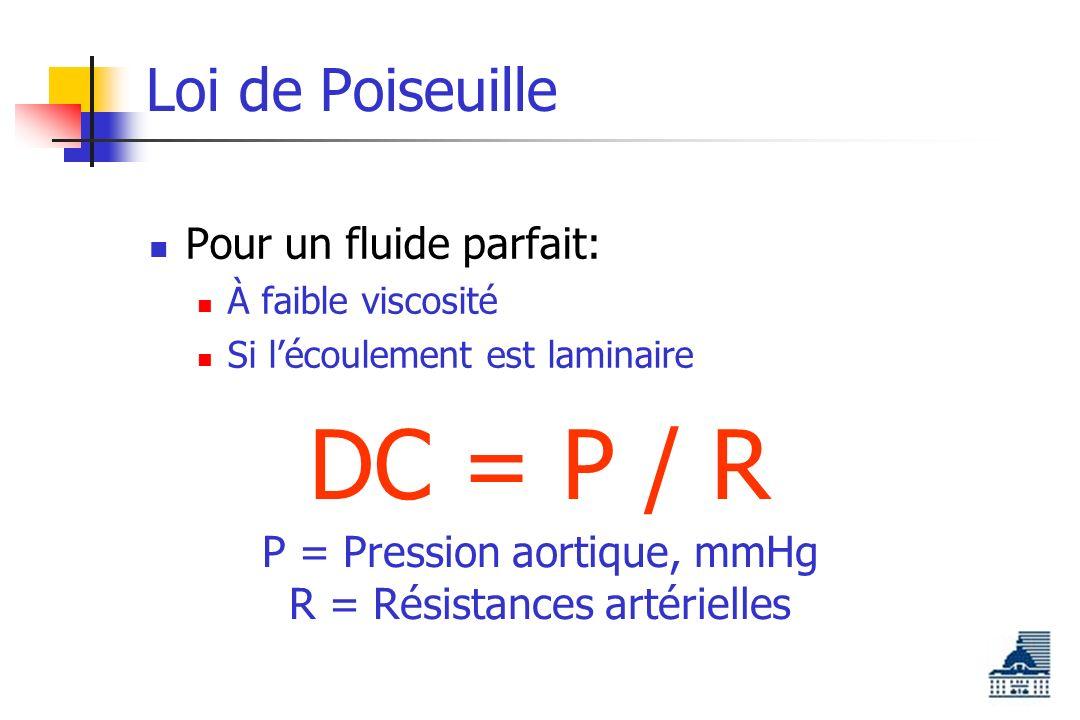 DC = P / R Loi de Poiseuille Pour un fluide parfait: