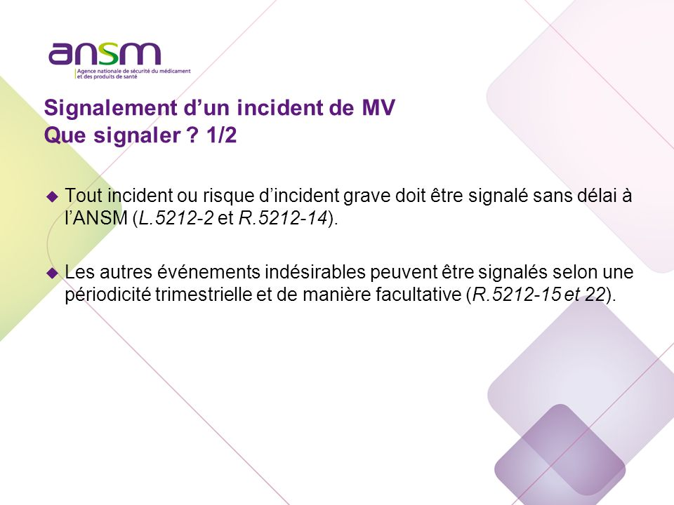 Signalement d'un incident de MV Que signaler 2/2