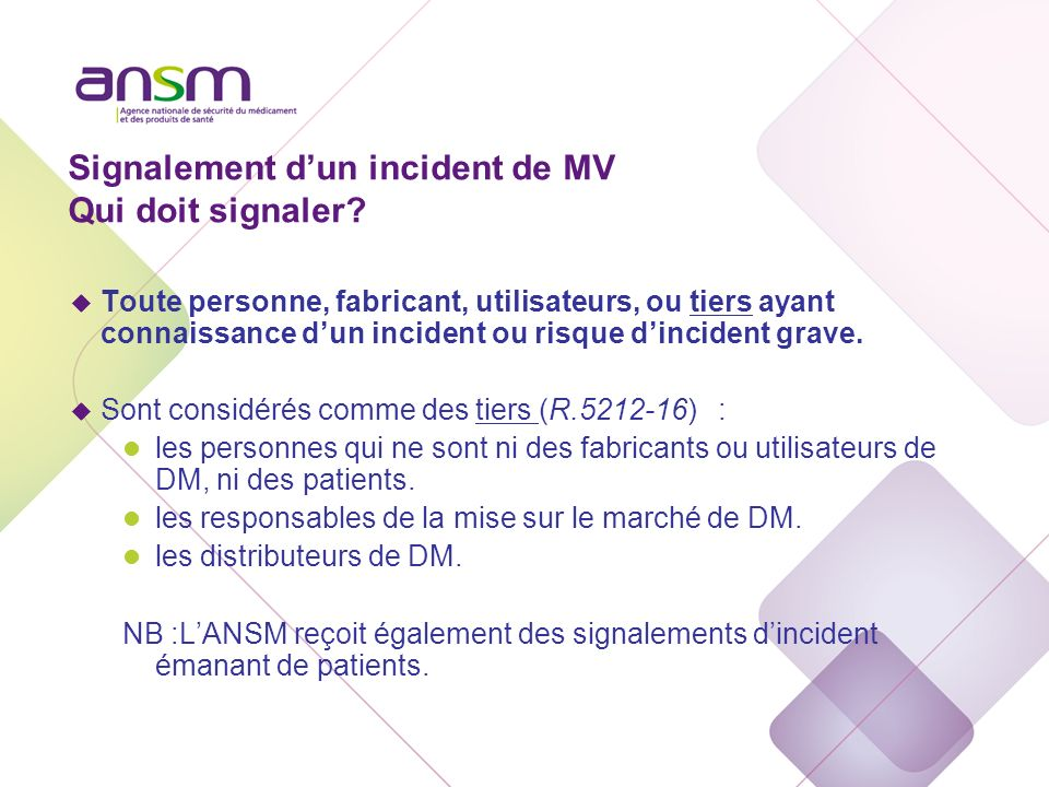 Signalement d'un incident de MV A qui signaler