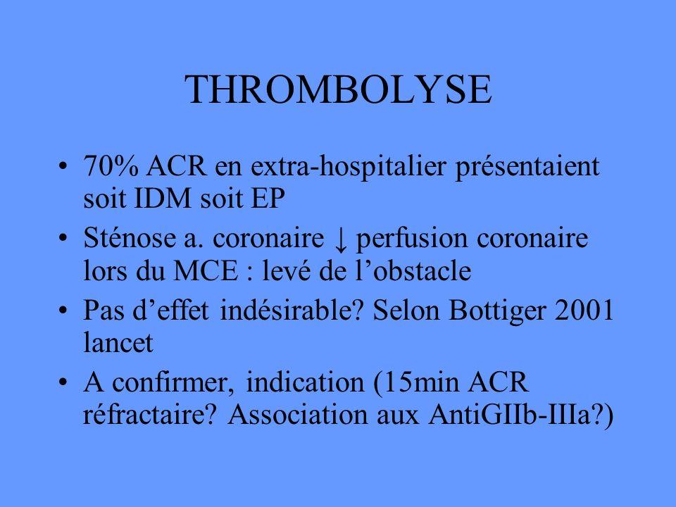 THROMBOLYSE 70% ACR en extra-hospitalier présentaient soit IDM soit EP