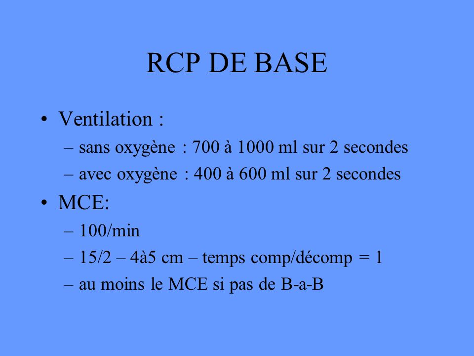 RCP DE BASE Ventilation : MCE: