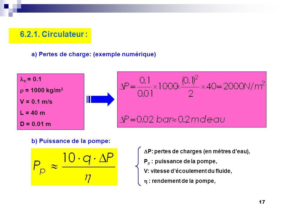 6.2.1. Circulateur : a) Pertes de charge: (exemple numérique) lc = 0.1