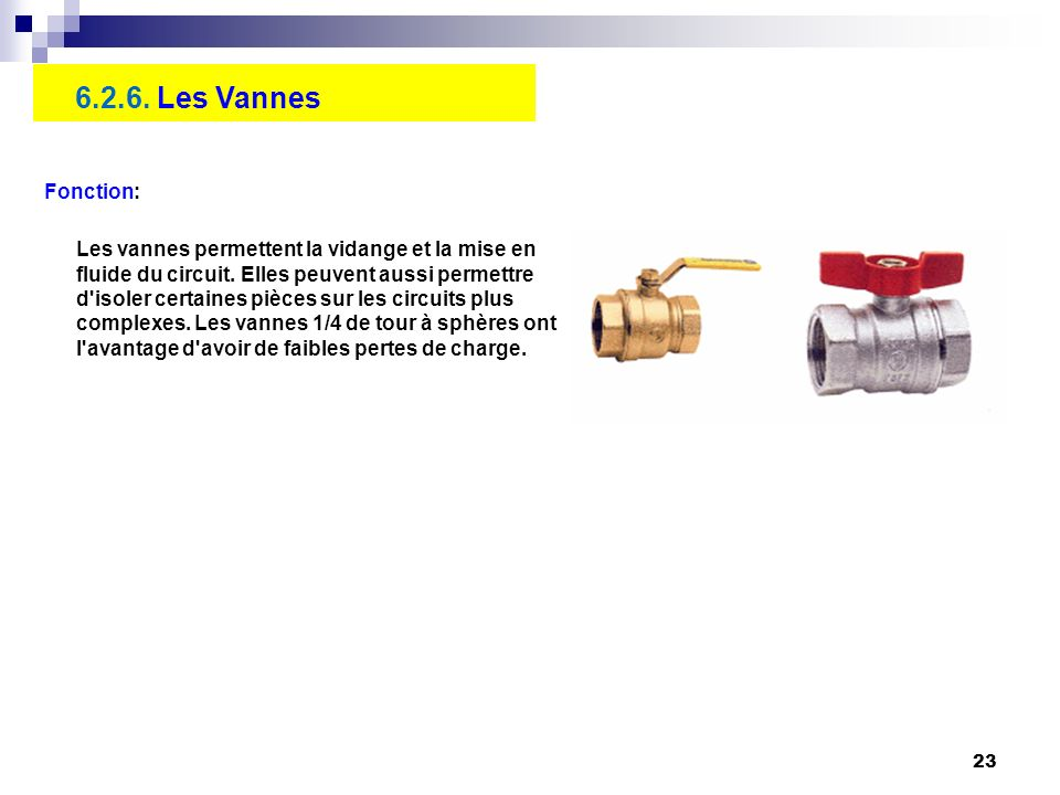 6.2.6. Les Vannes Fonction: