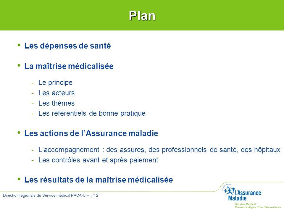Plan Les dépenses de santé La maîtrise médicalisée