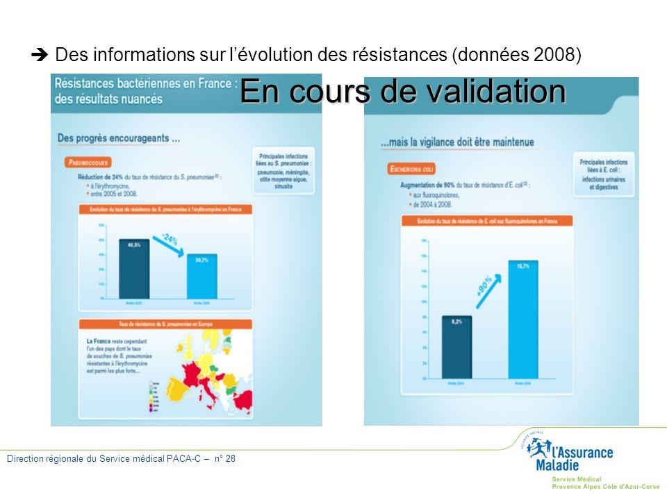  Des informations sur l'évolution des résistances (données 2008)