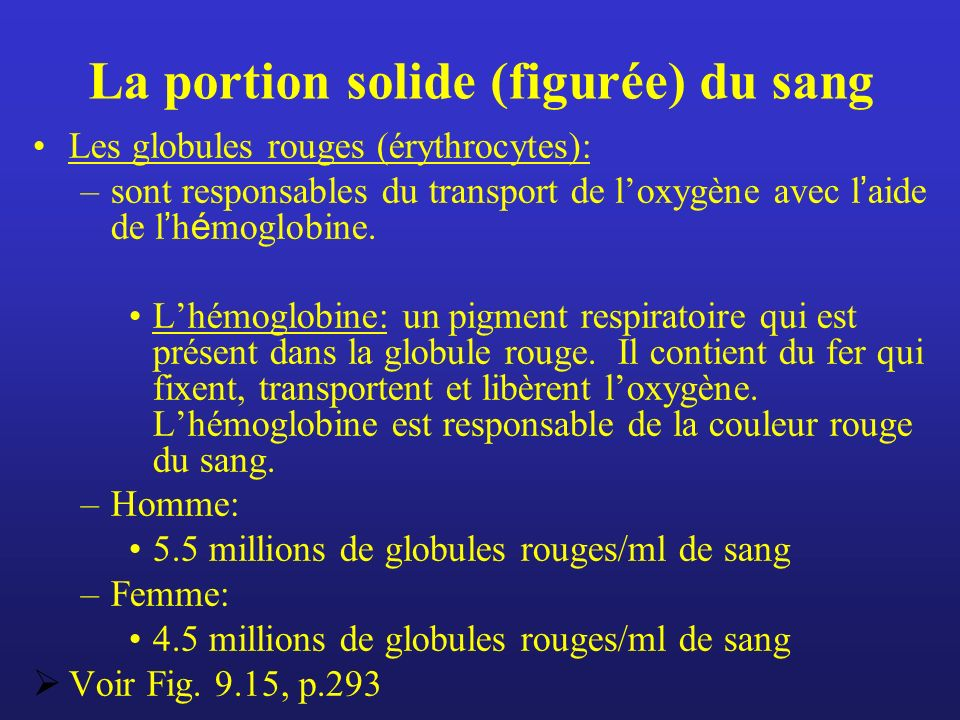La portion solide (figurée) du sang