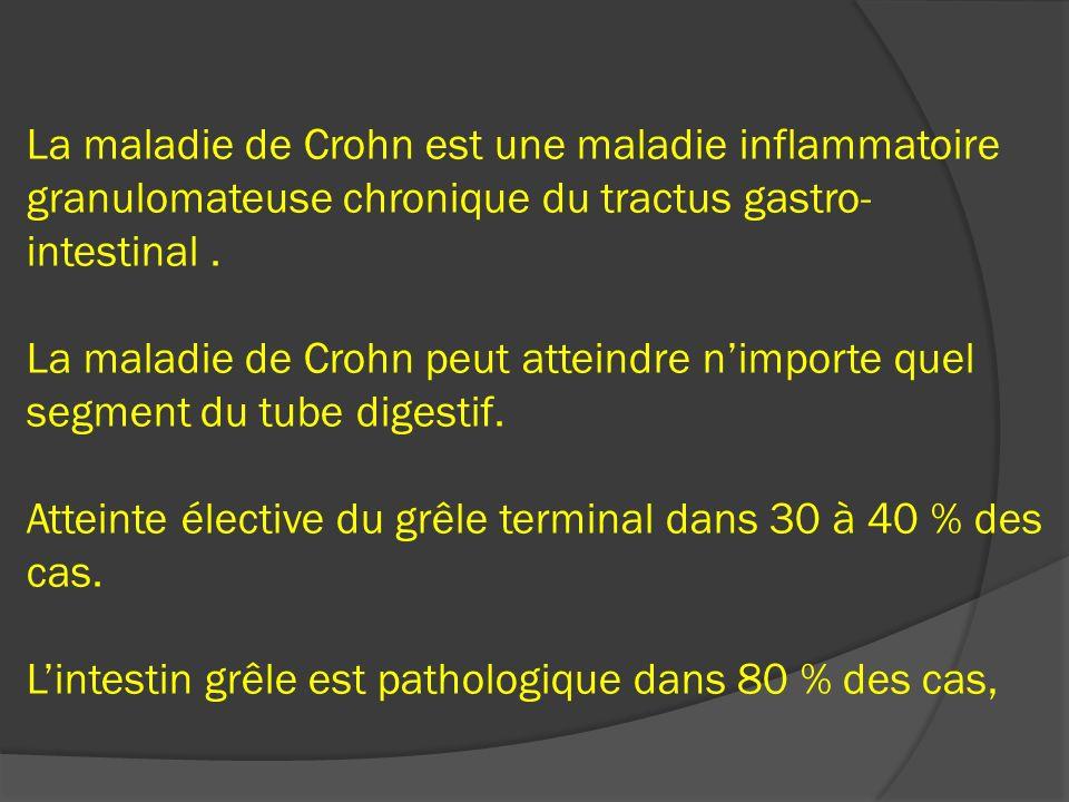 La maladie de Crohn est une maladie inflammatoire granulomateuse chronique du tractus gastro-intestinal .