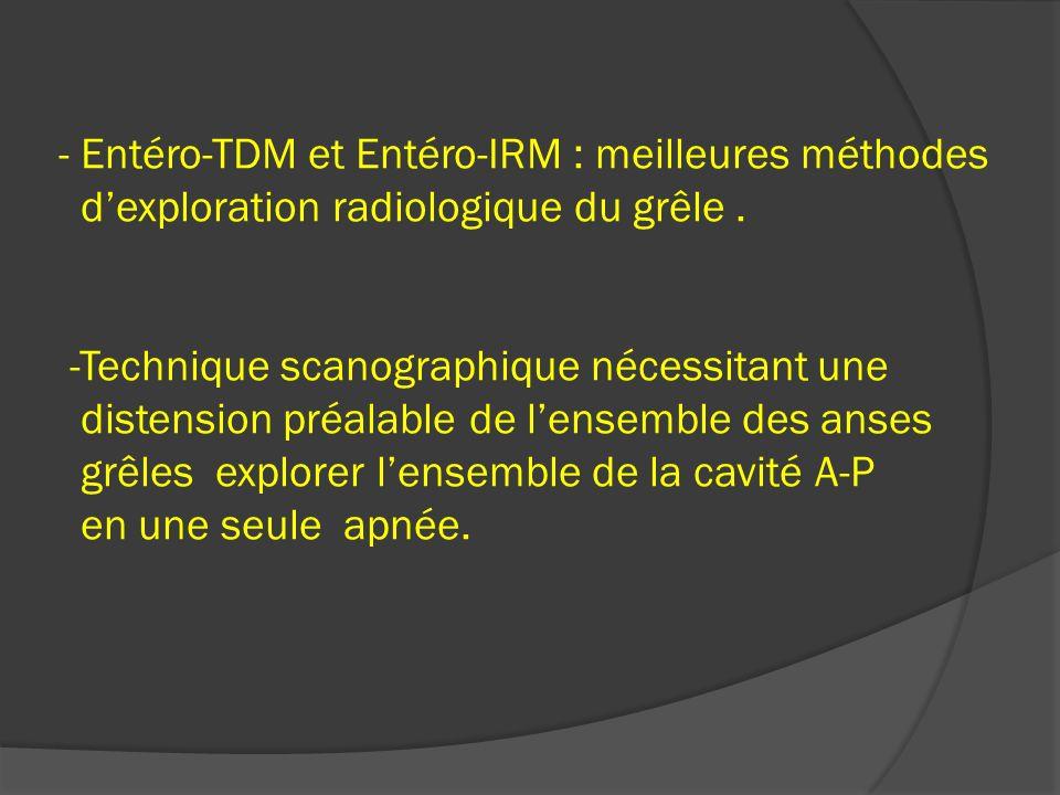 - Entéro-TDM et Entéro-IRM : meilleures méthodes d'exploration radiologique du grêle .