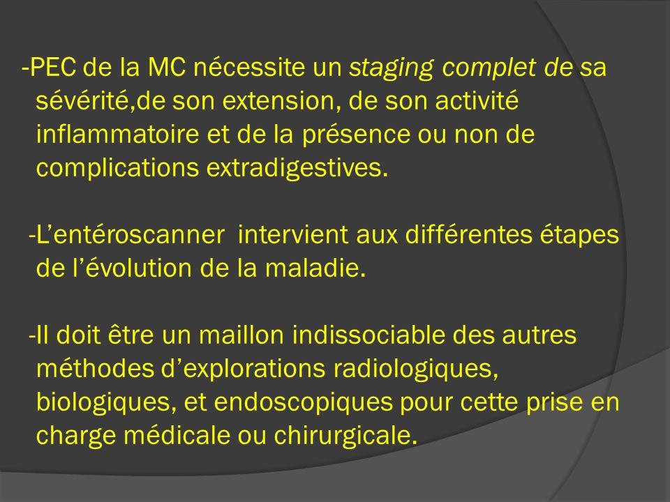 -PEC de la MC nécessite un staging complet de sa sévérité,de son extension, de son activité inflammatoire et de la présence ou non de complications extradigestives.