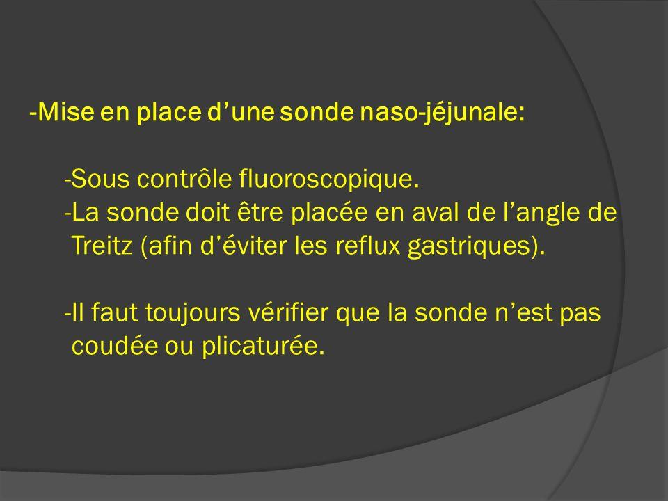 -Mise en place d'une sonde naso-jéjunale: -Sous contrôle fluoroscopique.