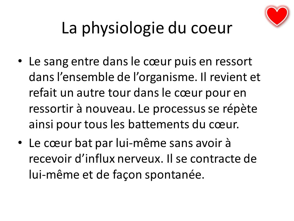 La physiologie du coeur
