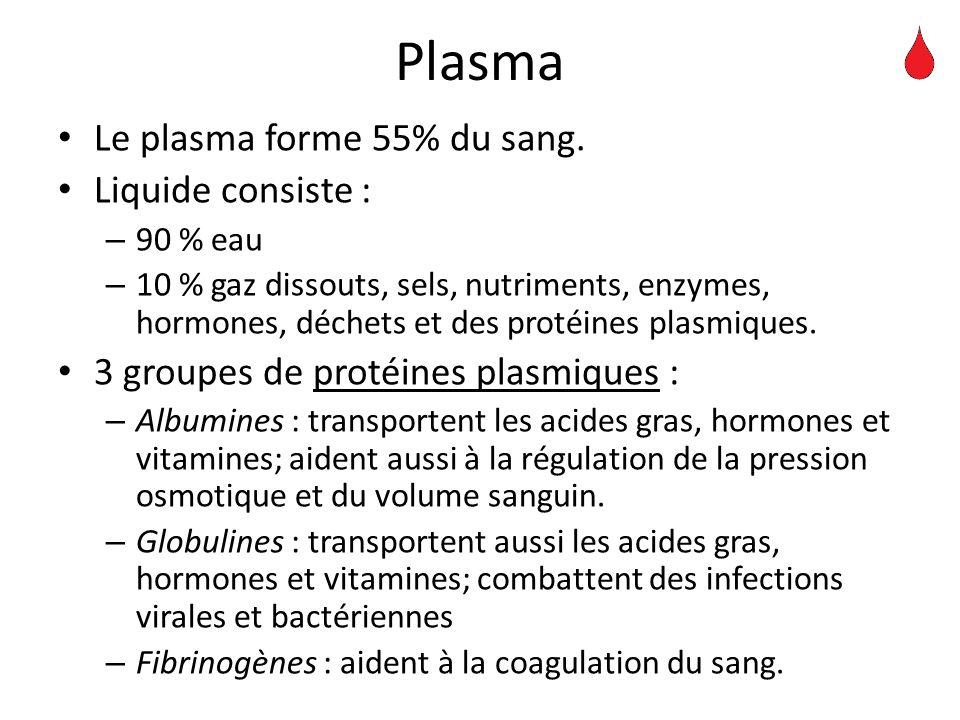 Plasma Le plasma forme 55% du sang. Liquide consiste :