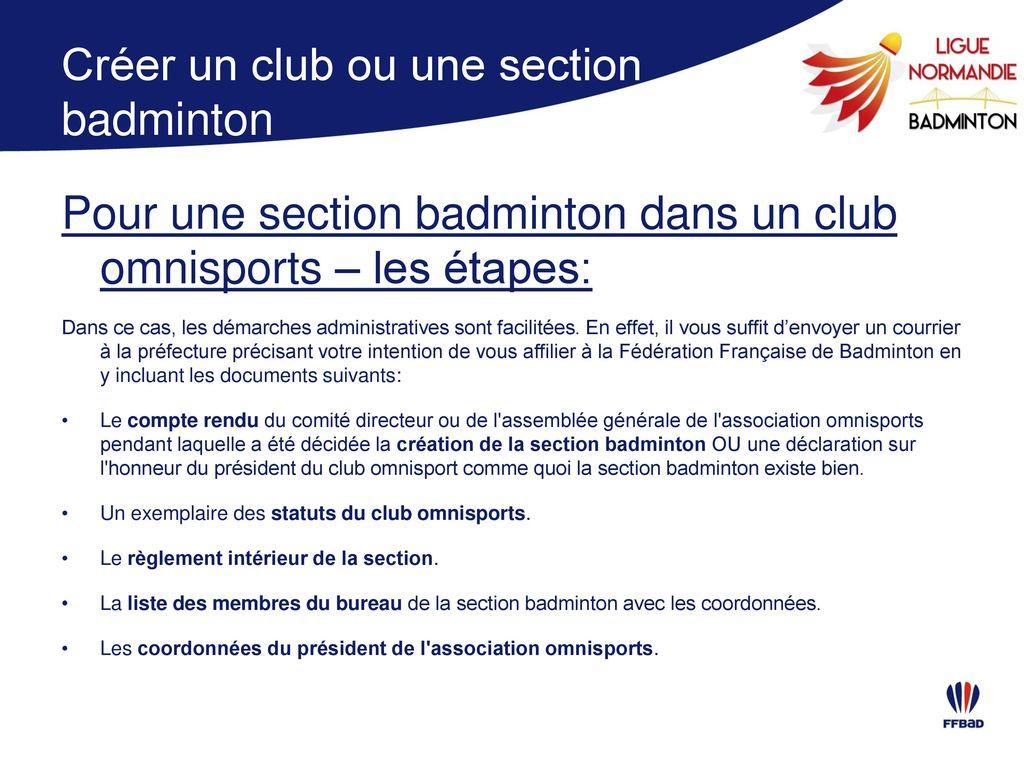 Pr ambule la ligue de normandie de badminton est heureuse - Declaration bureau association prefecture ...