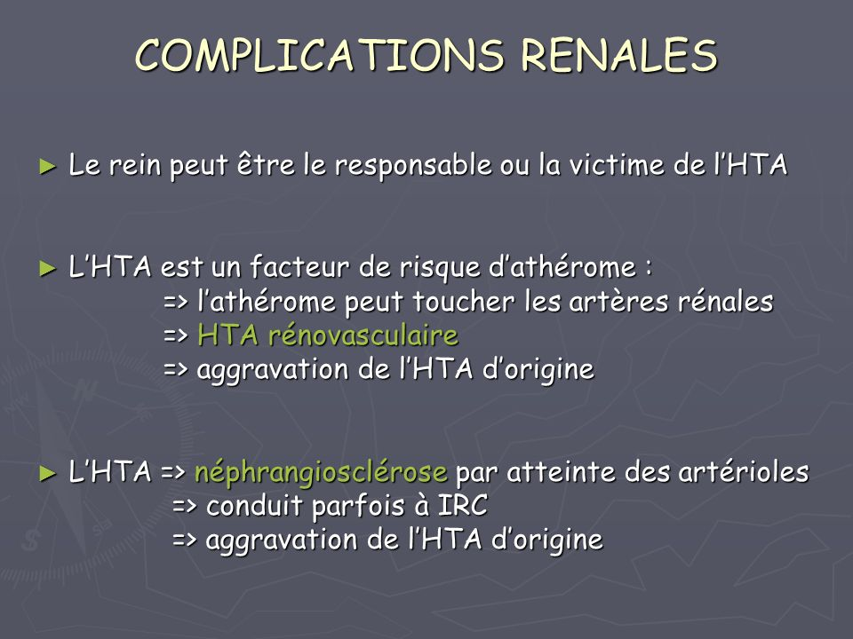 COMPLICATIONS RENALES