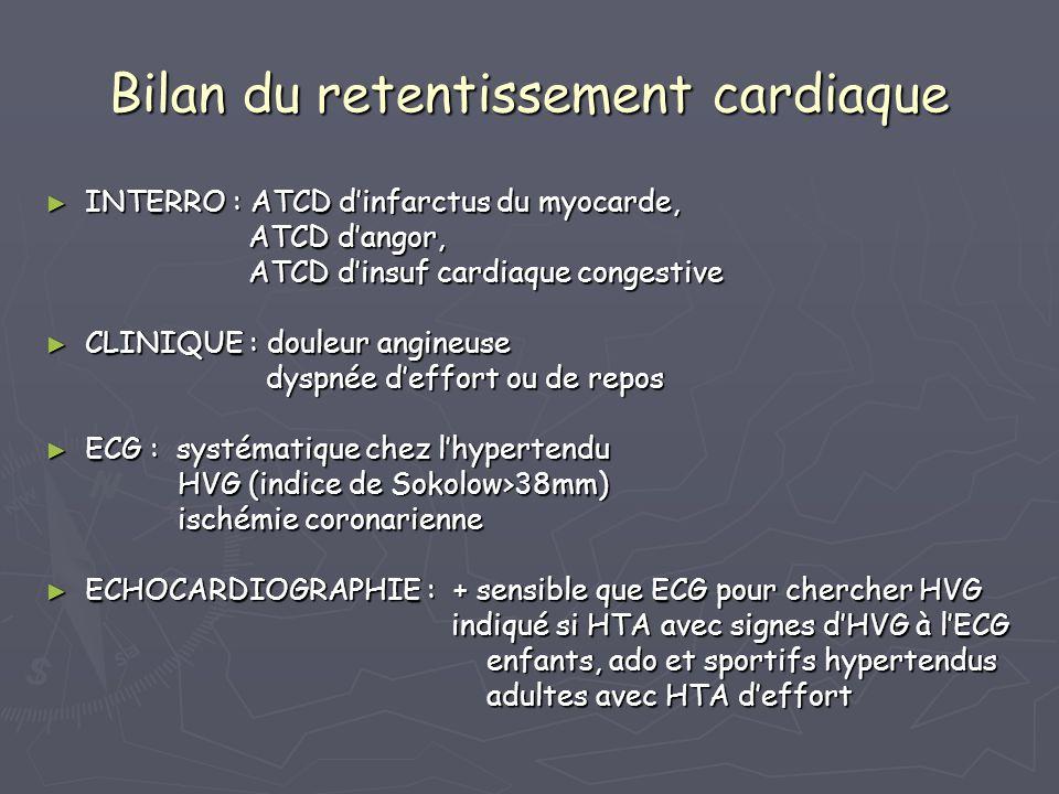 Bilan du retentissement cardiaque