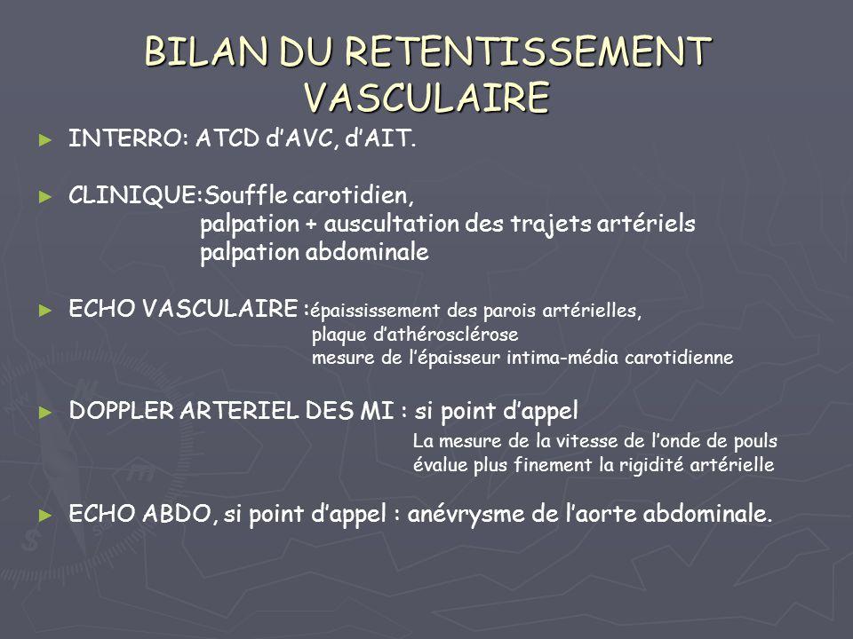BILAN DU RETENTISSEMENT VASCULAIRE