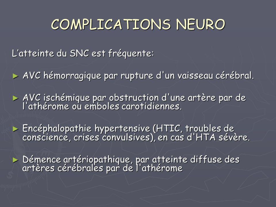 COMPLICATIONS NEURO L'atteinte du SNC est fréquente: